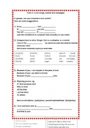 English Worksheet: Valentine love songs and poems