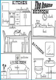 English Worksheet: rooms