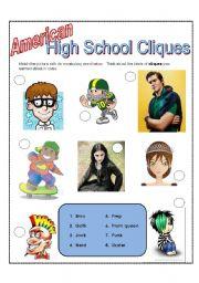 English worksheet: American High School Cliques
