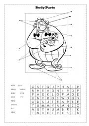 English Worksheet: Body Parts - Asterix