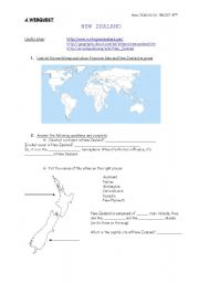 English Worksheet: A WEBQUEST ON NEW ZEALAND