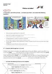 English Worksheet: violence at school ( part 1)