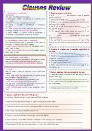 English Worksheet: Clauses review (conditionals 1, 2, 3 + could/might/should have + wish (fully editable)