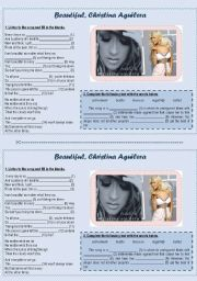 English Worksheet: Beautiful, Christina Aguilera�s song (listening comprehension)