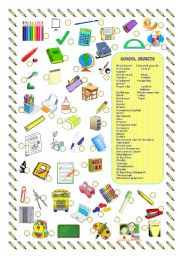 English Worksheet: SCHOOL OBJECTS/SUPPLIES