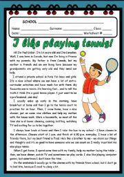 I LIKE PLAYING TENNIS! ( 2 PAGES )