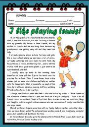 English Worksheet: I LIKE PLAYING TENNIS! ( 2 PAGES )