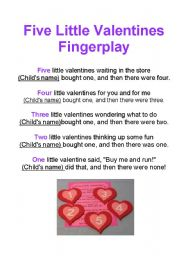 English Worksheet: Valentines: Traditional Rhymes and Fingerplays