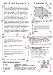English Worksheets: LET US LEARN ABOUT ... RHINO (with key)
