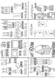 English Worksheet: my house pictionary mini book