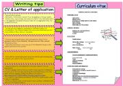 English Worksheet: Writing tips 3: CV & Letter of application (B&W version included)