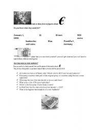 English Worksheets: Euro introduction