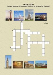 English worksheet: crosswords-important buildings in some capital cities