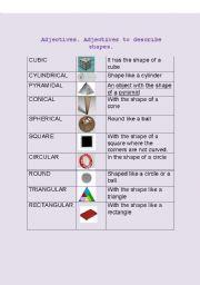 adjectives to describe shapes esl worksheet by reyeslinares. Black Bedroom Furniture Sets. Home Design Ideas
