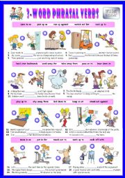 English Worksheet: Third series of 3-Word Phrasal Verbs. Exercises (Part 2/3). Key included!!!