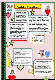 English Worksheet: Birthday Traditions   READING  COMPREHENSION