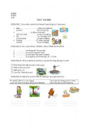 TEST PAPER - 5TH GRADE - ESL worksheet by IRINA DUMITRASCU