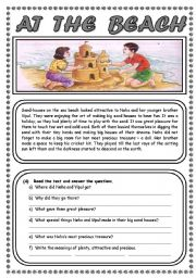 English Worksheet: AT THE BEACH (2 PAGES)