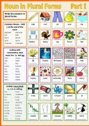 English Worksheet: Noun in Plural Forms - Part I