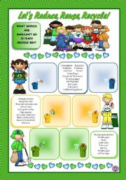 English Worksheet: LET´S REDUCE, REUSE, RECYCLE!