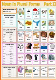 English Worksheet: Noun in Plural Forms - Part II
