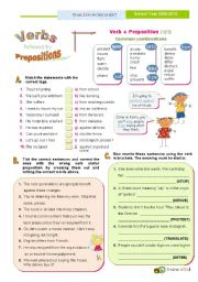 English Worksheets: Verbs followed by Prepositions (3) - Common combinations with