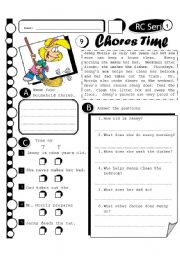 English Worksheet: RC Series 09 - Chores Time (Fully Editable + Answer Key)