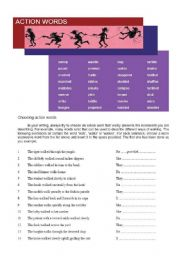 English Worksheets: Action words and verb phrase worksheet