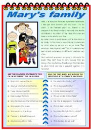 English worksheet: MARY´S FAMILY (READING + COMPREHENSION EXERCISES)
