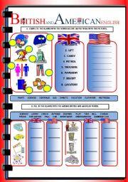 English Worksheet: BRITISH & AMERICAN ENGLISH