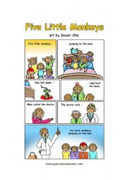English Worksheet: Five Little Monkeys - comic and chant