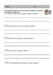 English Worksheets: Positive Negative Question