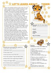 English Worksheets: LET�S LEARN ABOUT... TIGER! (2 PAGES with key)