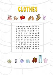 English worksheet: clothes-crossword puzzle