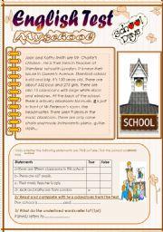 English Worksheet: English test(3 parts):7th form.Reading Comprehension/Grammar+Vocabulary/Writing(+Key)