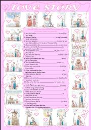 English Worksheet: Love Story-Sequence of Tenses (+key)