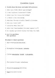 English Worksheets: Question types