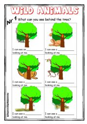 English Worksheets: Wild animals 1 col - What can you see behind the tree?