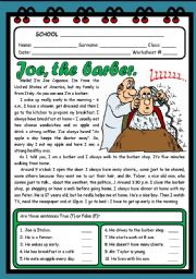 English Worksheet: JOE, THE BARBER. ( 2 PAGES )