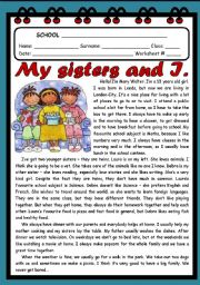 English Worksheets: MY SISTERS AND I! ( 2 PAGES)