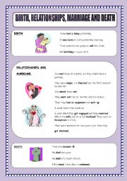 English Worksheet: BIRTH,RELATIONSHIPS,MARRIAGE AND DEATH