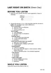 English worksheet: Green Day´s Last Night on Earth Listening Activities + Answers