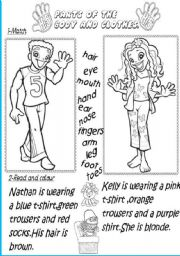 English Worksheets: Parts of the body and clothes.