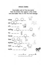 English Worksheets: Animal Jumble
