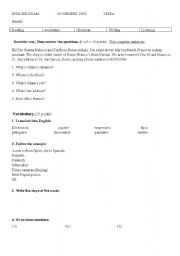 English Worksheet: first exam for secondary of adults