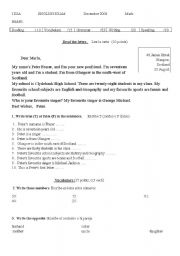 English Worksheet: test for adults doing secondary