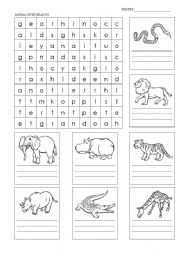 English Worksheets: animals wordseach