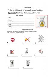 English Worksheets: laboratory work, laboratory rules -writing