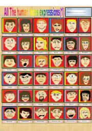 English Worksheets: All the human faces�expressions (Part 1)
