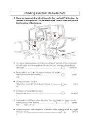 English Worksheet: Telling the way: Treasure Hunt